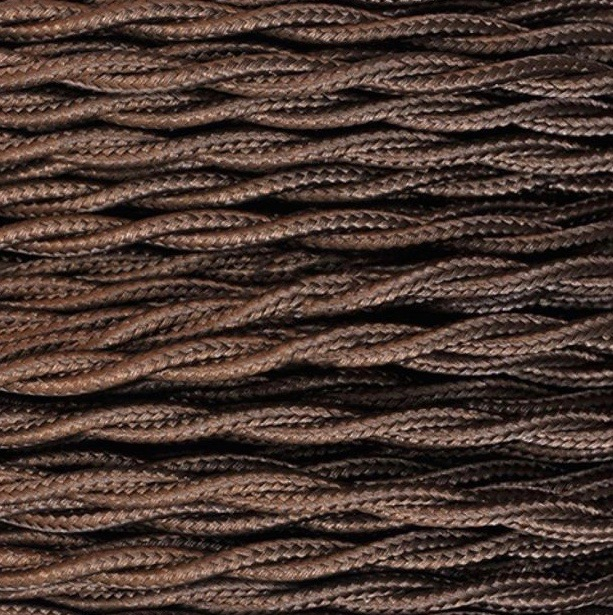 Câble textile torsadé à mètres section 2 x 2,5mm marron